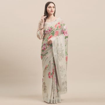 SATIMA | BeigeLinen CottonFloral Print With Zari Border