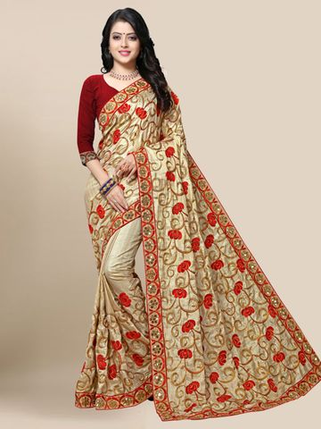 SATIMA | Women's Beige Embroidered Silk Blend Saree