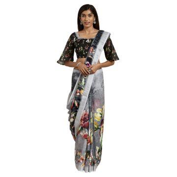 SATIMA   Satima Black Linen Floral Print & Zari Saree