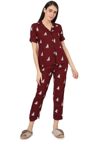 Smarty Pants | Smarty Pants women's cotton maroon color triangle print night suit