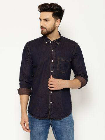 Eppe   EPPE Men's Solid Smart Fit Full Sleeves Casual Denim Shirt