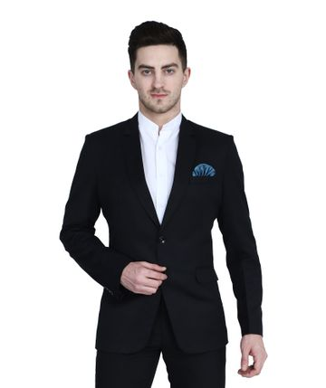 TAHVO | Black notched lapel blazer with hanky for men