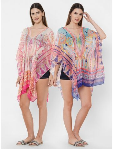 Get Wrapped | Get Wrapped Polyester Printed Multicolor Beach Cover-Up Dress With Border Print - Combo Pack of 2