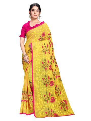 SATIMA   Designer Yellow Chiffon Self-Design Embroidered Saree