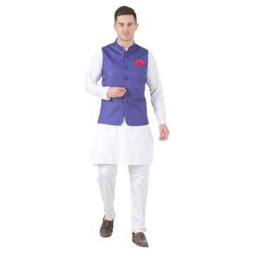 TAHVO | TAHVO mens nehru jacket with hanky kurta payjama 3 piece set