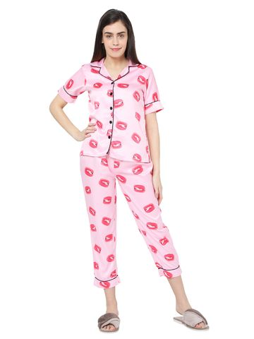 Smarty Pants | Smarty Pants women's silk satin pink color macron lips print night suit