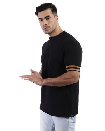 YOONOY | men slim fit polo tee with henley style collar, printed sleeve cuff and side slit