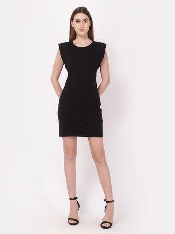 YOONOY   bodycon padded shoulder dress