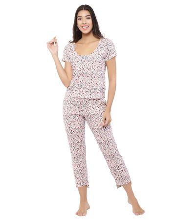 YOONOY | animal print short sleeve scoop neck tee and pyjama set