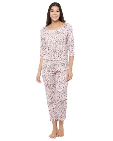 YOONOY | animal print 3/4th sleeve high low hem tee with high low hem detail pyjama set