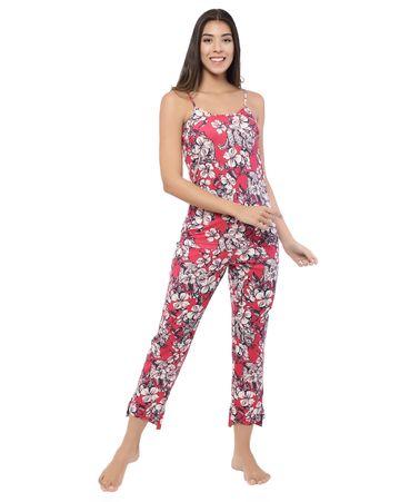 YOONOY | floral print cami top with side with side slit detailed high low hem pyjama set