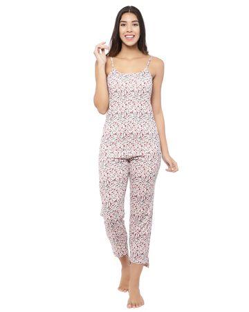 YOONOY | animal print cami top with side with side slit detailed high low hem pyjama set
