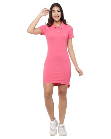 YOONOY | women polo dress with side slit, high low detail and placket opening