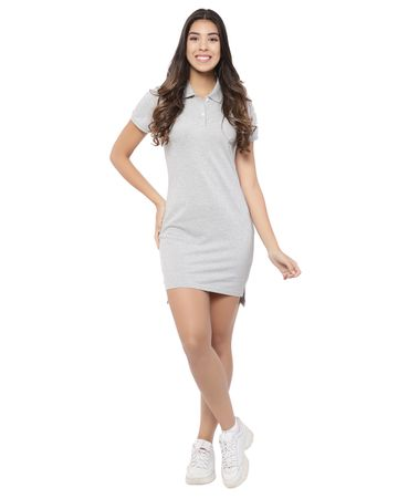 YOONOY   women polo dress with side slit, high low detail and placket opening