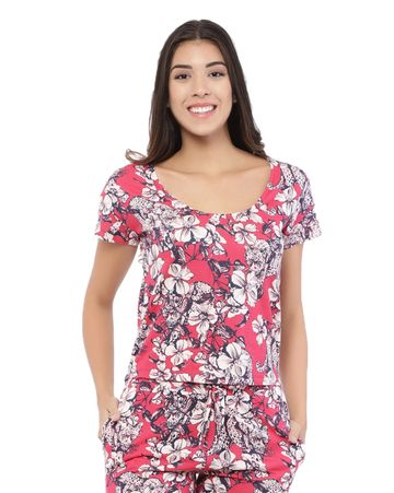 YOONOY | floral print scoop neck curved high low tee