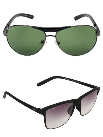 CREATURE | CREATURE Green & Purple Aviator Sunglasses Combo with UV Protection (Lens-Green & Purple|Frame-Golden & Brown)