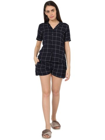Smarty Pants | Smarty Pants women's blue & white checkered printed night suit