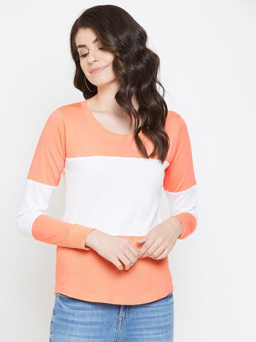 Jhankhi | Orange and White Colourblocked Full Sleeves T-Shirts