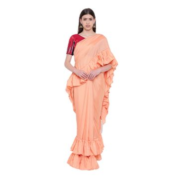 SATIMA | Satima PeachSilk BlendSolid Ruffle Saree