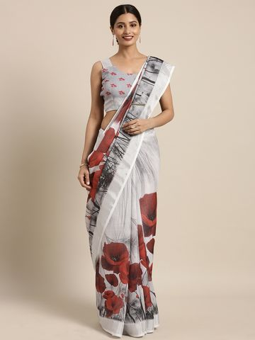 SATIMA | Satima Grey & MultiLinen CottonFloral Print Saree