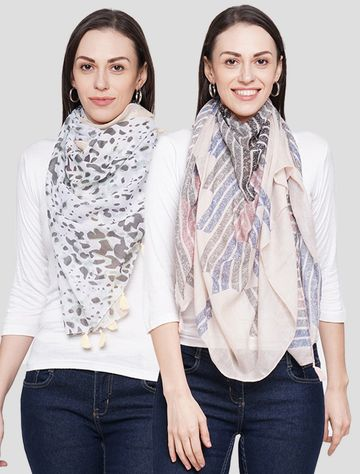 Get Wrapped | Get Wrapped Multi Polyester Printed Scarves for Women - Pack of 2