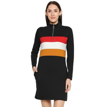 Jhankhi | Jhankhi Cotton Black multi Hodded Dress