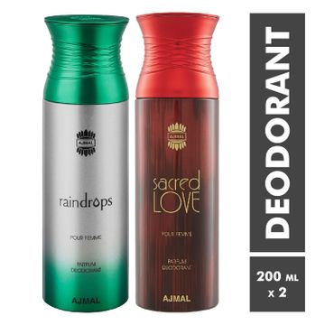 Ajmal | Raindrops and Sacred Love Deodorant Spray - Pack of 2