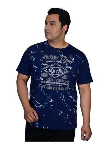 XMEX   XMEX Men's Plus Size Navy Blue Cotton Casual Abstract Print Half Sleeve Round Neck T-Shirt