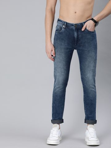 The Bear House | Men Blue Slim Fit Mid-Rise Low Distress Stretchable Jeans
