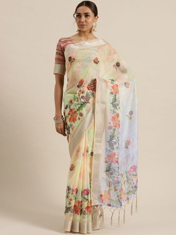 SATIMA | Satima Woman'S White Linen  Printed  Saree