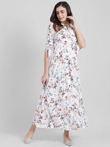Zink London   Zink London Women's White Printed Maxi Dress