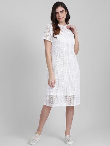 Zink London   Zink London Women's White Self Design Sheath Dress