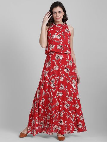 Zink London   Zink London Women's Red Printed Wrap Dress