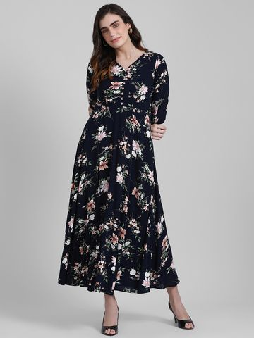 Zink London | Zink London Women's Navy Blue Printed Maxi Dress