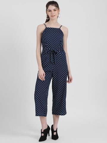 Zink London | Zink London Women's Navy Blue Polka Dotted Basic Jumpsuit