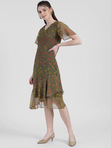 Zink London | Zink London Women's Green Floral Printed Sheath Dress
