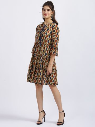 Zink London | Zink London Multi Tribal Print Tiered Dress