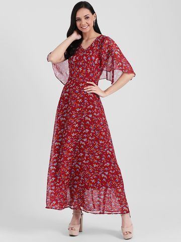 Zink London | Zink London Red Printed Maxi Dress