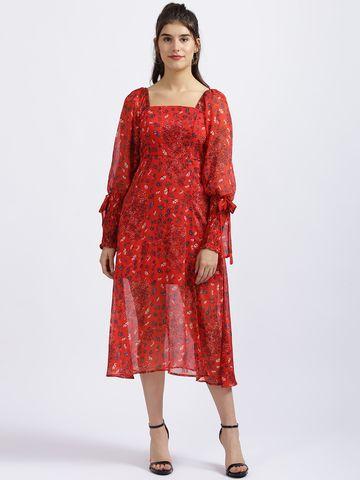 Zink London   Zink London Red Floral Print Fit & Flare Dress