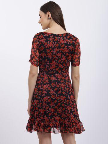 Zink London | Zink London Black Floral Print Fit & Flare Dress