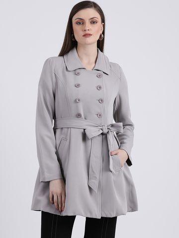 Zink London | Zink London Grey Women's Solid Duster Jacket
