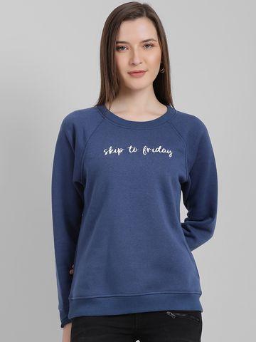 Zink London | Zink London Women's Navy Blue Solid Pullover Sweatshirt
