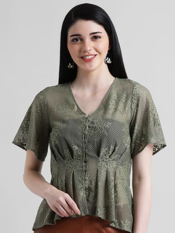 Zink London | Zink London Green Peplum Top for Women