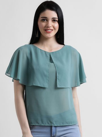 Zink London | Zink London Green Blouson Top for Women