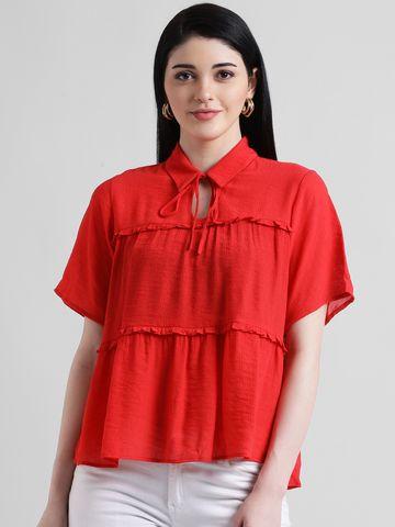 Zink London | Zink London Women's Red Solid Regular Top