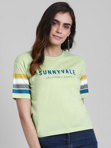 Zink London | Zink London Women's Lime Green Solid Regular T-Shirt