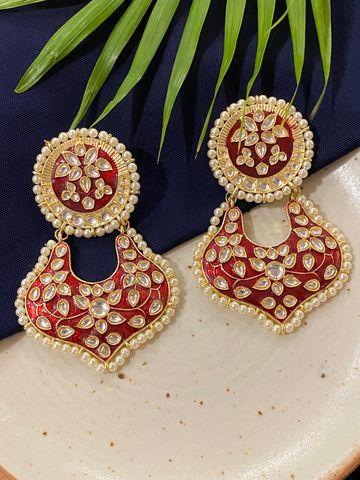 Swabhimann Jwellery   Swabhimann Kaasni Red Meena Chandbalis