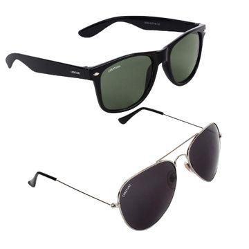 CREATURE   CREATURE Golden Aviator And Green Wayfarer Sunglasses Combo with UV Protection (Lens-Black/Green Frame-Sliver/Black)
