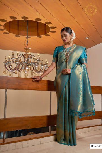 POONAM TEXTILE | ELEGANT KANJIVARAM TEAL BLUE RAW SILK WOVEN ZARI FESTIVE SAREE