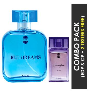Ajmal | Ajmal Blu Dreams EDP Citurs Fruity Perfume 100ml for Men and Sacrifice for Her Concentrated Perfume Oil Floral Musky Alcohol-free Attar 10ml for Women + 2 Parfum Testers FREE